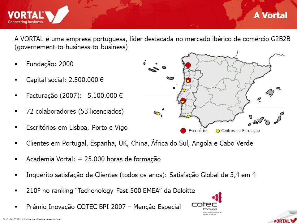 © Vortal 2008 - Todos os direitos reservados A Vortal 2 682 A VORTAL é uma empresa portuguesa, líder destacada no mercado ibérico de comércio G2B2B (governement-to-business-to business) Fundação: 2000 Capital social: 2.500.000 Facturação (2007): 5.100.000 72 colaboradores (53 licenciados) Escritórios em Lisboa, Porto e Vigo Clientes em Portugal, Espanha, UK, China, África do Sul, Angola e Cabo Verde Academia Vortal: + 25.000 horas de formação Inquérito satisfação de Clientes (todos os anos): Satisfação Global de 3,4 em 4 210º no ranking Techonology Fast 500 EMEA da Deloitte Prémio Inovação COTEC BPI 2007 – Menção Especial Escritórios Centros de Formação
