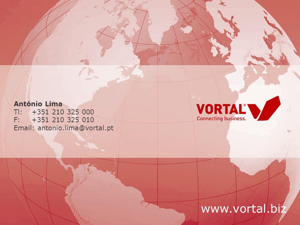 © Vortal 2008 - Todos os direitos reservados António Lima Tl:+351 210 325 000 F:+351 210 325 010 Email: antonio.lima@vortal.pt www.vortal.biz