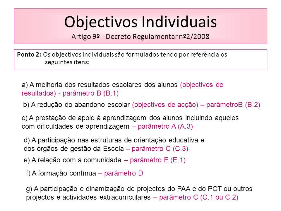 Objectivos Individuais Artigo 9º - Decreto Regulamentar nº2/2008 Ponto 2: Os objectivos individuais são formulados tendo por referência os seguintes itens: a) A melhoria dos resultados escolares dos alunos (objectivos de resultados) - parâmetro B (B.1) b) A redução do abandono escolar (objectivos de acção) – parâmetroB (B.2) c) A prestação de apoio à aprendizagem dos alunos incluindo aqueles com dificuldades de aprendizagem – parâmetro A (A.3) d) A participação nas estruturas de orientação educativa e dos órgãos de gestão da Escola – parâmetro C (C.3) e) A relação com a comunidade – parâmetro E (E.1) f) A formação contínua – parâmetro D g) A participação e dinamização de projectos do PAA e do PCT ou outros projectos e actividades extracurriculares – parâmetro C (C.1 ou C.2)