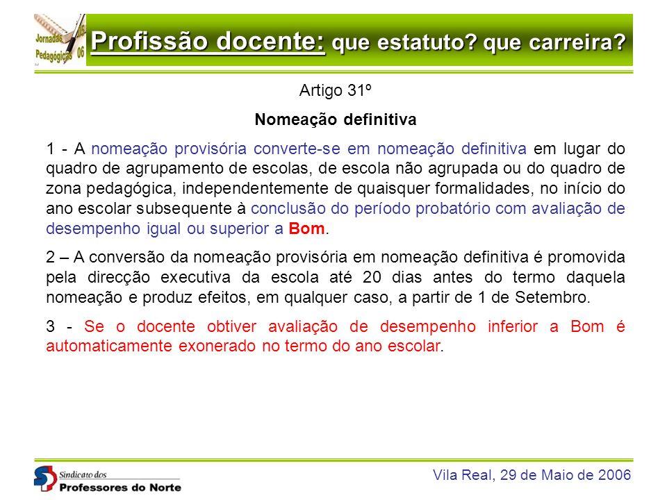 Profissão docente: que estatuto? que carreira? Vila Real, 29 de Maio de 2006 Artigo 31º Nomeação definitiva 1 - A nomeação provisória converte-se em n