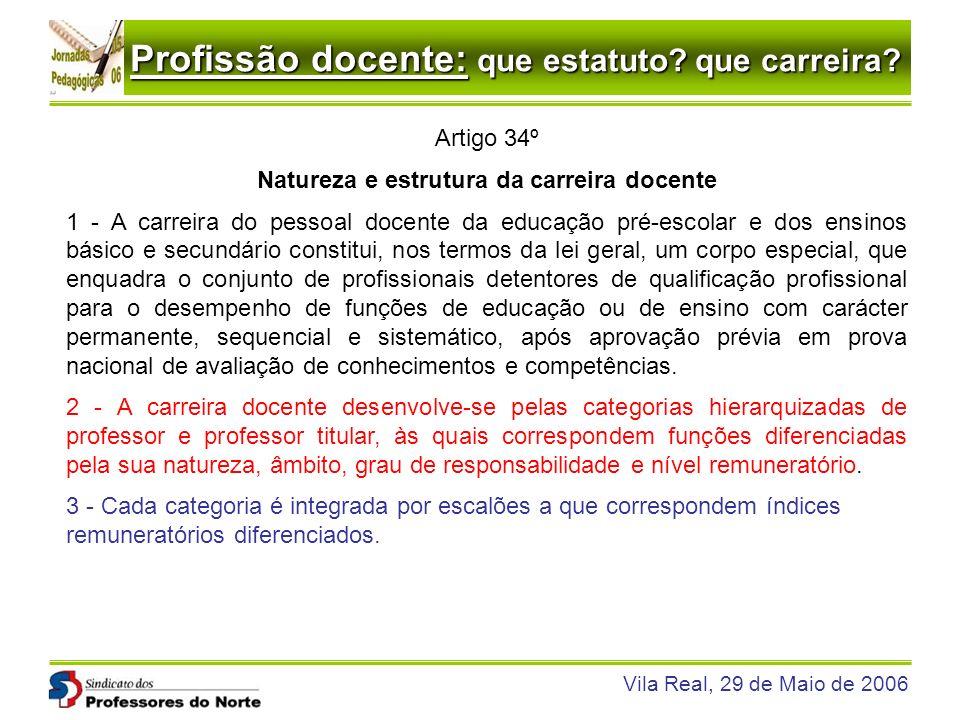 Profissão docente: que estatuto? que carreira? Vila Real, 29 de Maio de 2006 Artigo 34º Natureza e estrutura da carreira docente 1 - A carreira do pes
