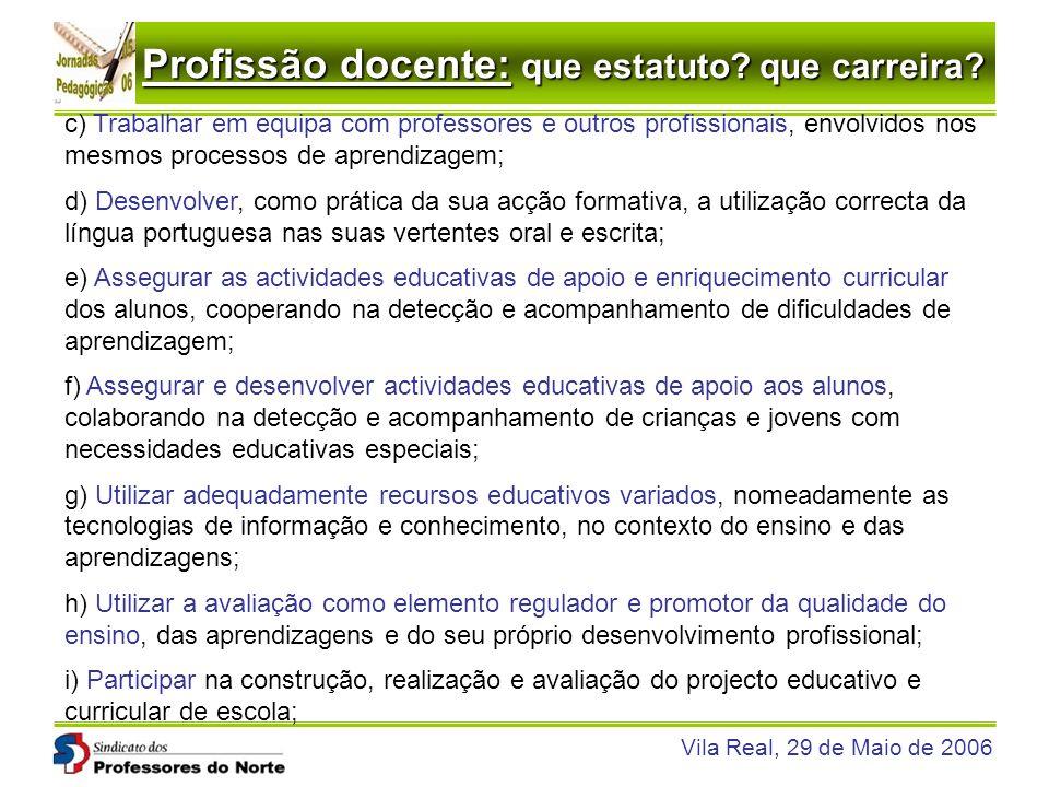 Profissão docente: que estatuto? que carreira? Vila Real, 29 de Maio de 2006 c) Trabalhar em equipa com professores e outros profissionais, envolvidos