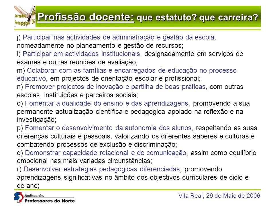 Profissão docente: que estatuto? que carreira? Vila Real, 29 de Maio de 2006 j) Participar nas actividades de administração e gestão da escola, nomead