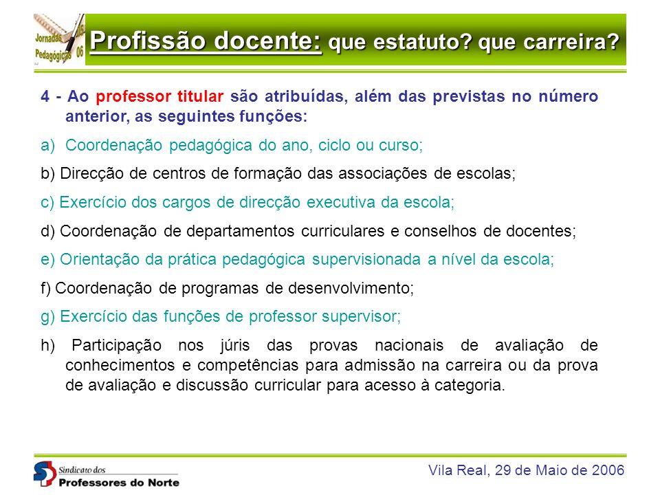 Profissão docente: que estatuto? que carreira? Vila Real, 29 de Maio de 2006 4 - Ao professor titular são atribuídas, além das previstas no número ant