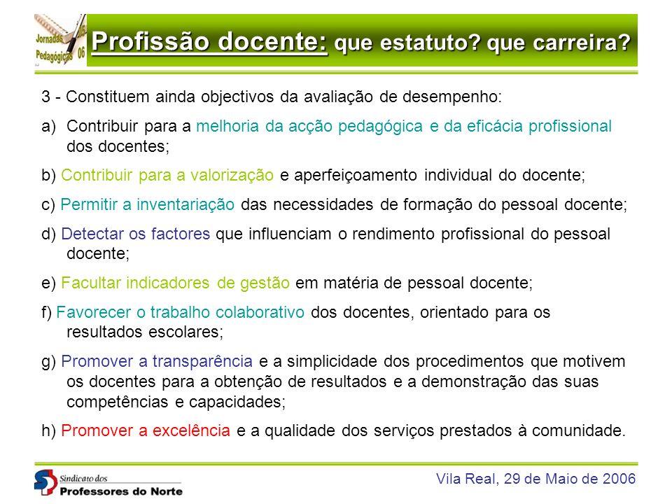 Profissão docente: que estatuto? que carreira? Vila Real, 29 de Maio de 2006 3 - Constituem ainda objectivos da avaliação de desempenho: a)Contribuir