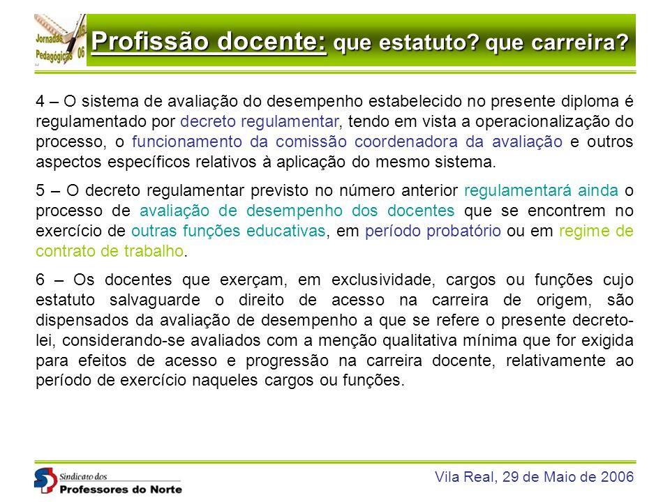 Profissão docente: que estatuto? que carreira? Vila Real, 29 de Maio de 2006 4 – O sistema de avaliação do desempenho estabelecido no presente diploma