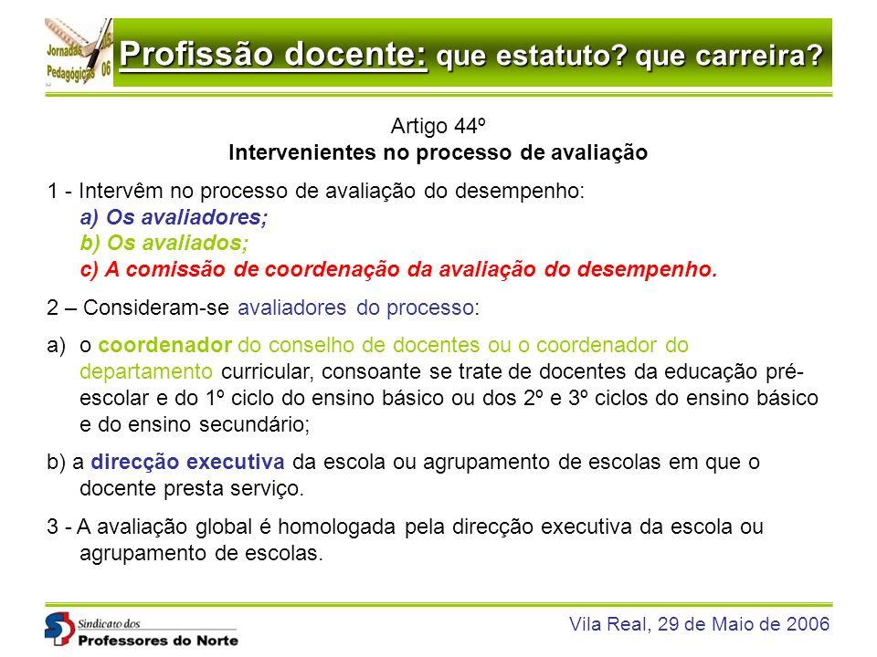 Profissão docente: que estatuto? que carreira? Vila Real, 29 de Maio de 2006 Artigo 44º Intervenientes no processo de avaliação 1 - Intervêm no proces