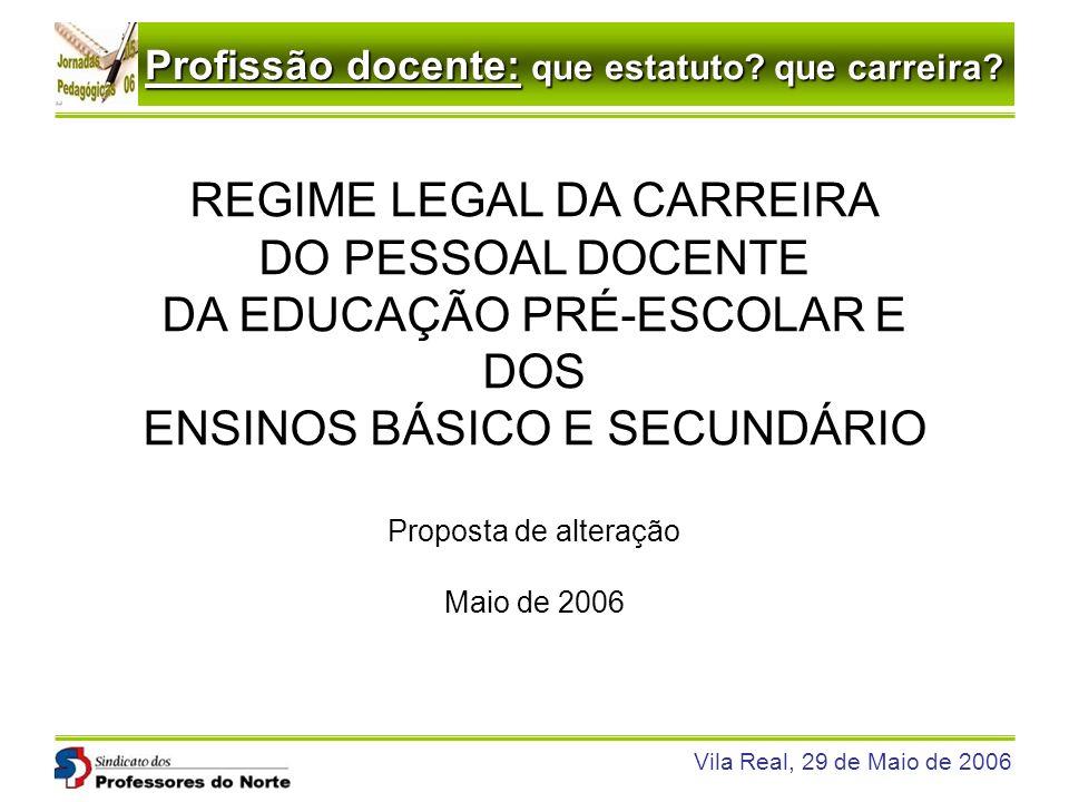 Profissão docente: que estatuto? que carreira? Vila Real, 29 de Maio de 2006 REGIME LEGAL DA CARREIRA DO PESSOAL DOCENTE DA EDUCAÇÃO PRÉ-ESCOLAR E DOS