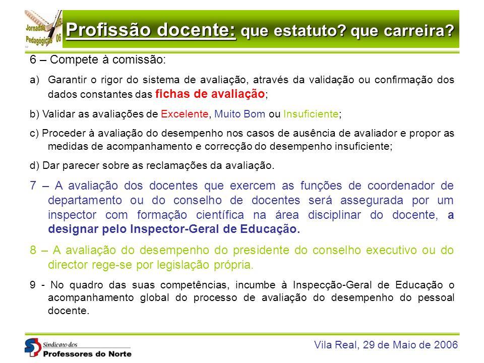 Profissão docente: que estatuto? que carreira? Vila Real, 29 de Maio de 2006 6 – Compete à comissão: a)Garantir o rigor do sistema de avaliação, atrav