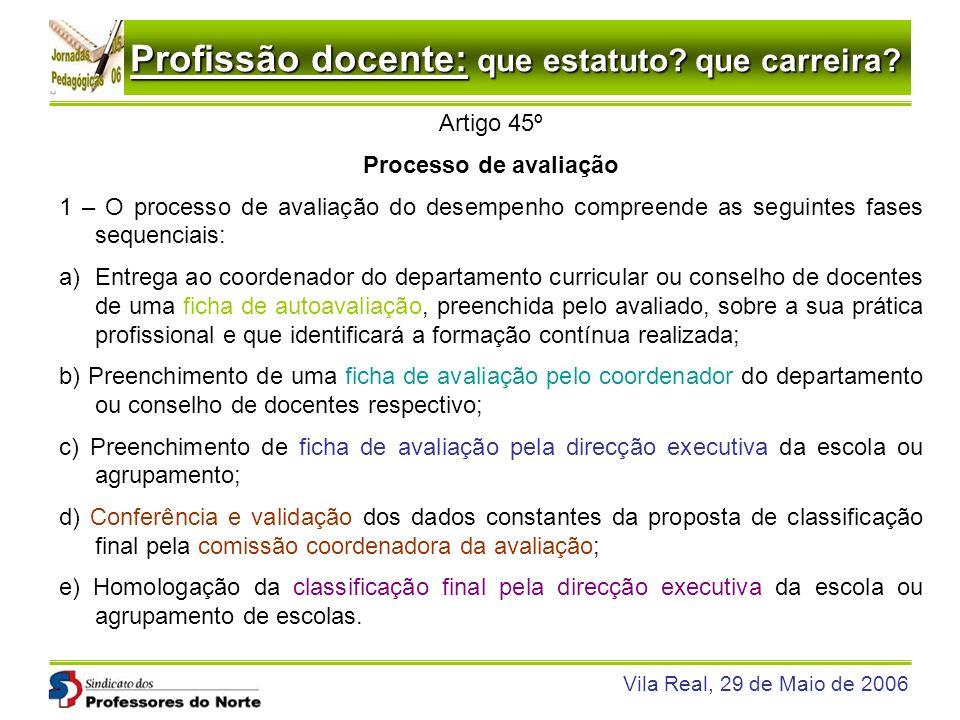 Profissão docente: que estatuto? que carreira? Vila Real, 29 de Maio de 2006 Artigo 45º Processo de avaliação 1 – O processo de avaliação do desempenh