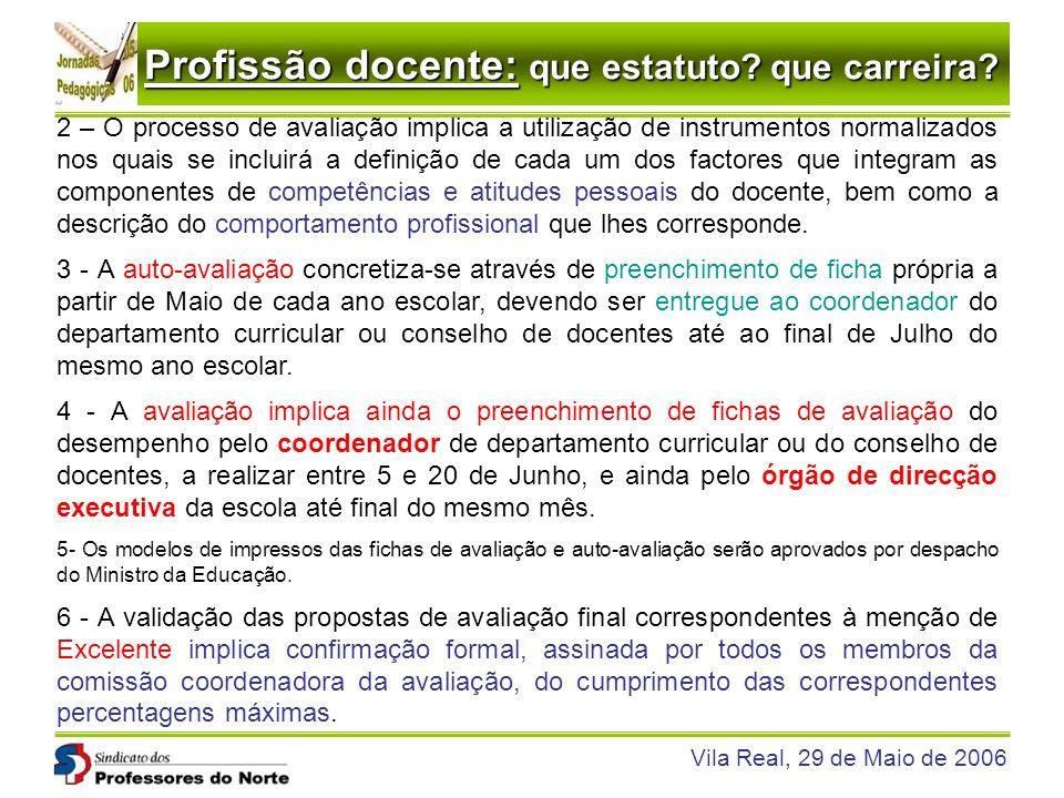 Profissão docente: que estatuto? que carreira? Vila Real, 29 de Maio de 2006 2 – O processo de avaliação implica a utilização de instrumentos normaliz
