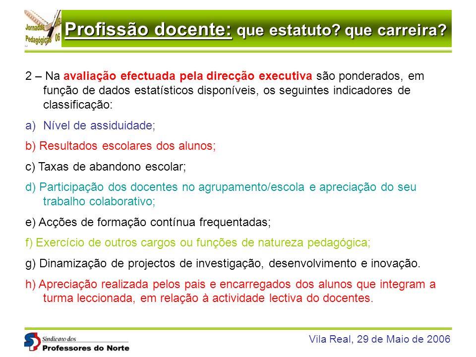 Profissão docente: que estatuto? que carreira? Vila Real, 29 de Maio de 2006 2 – Na avaliação efectuada pela direcção executiva são ponderados, em fun