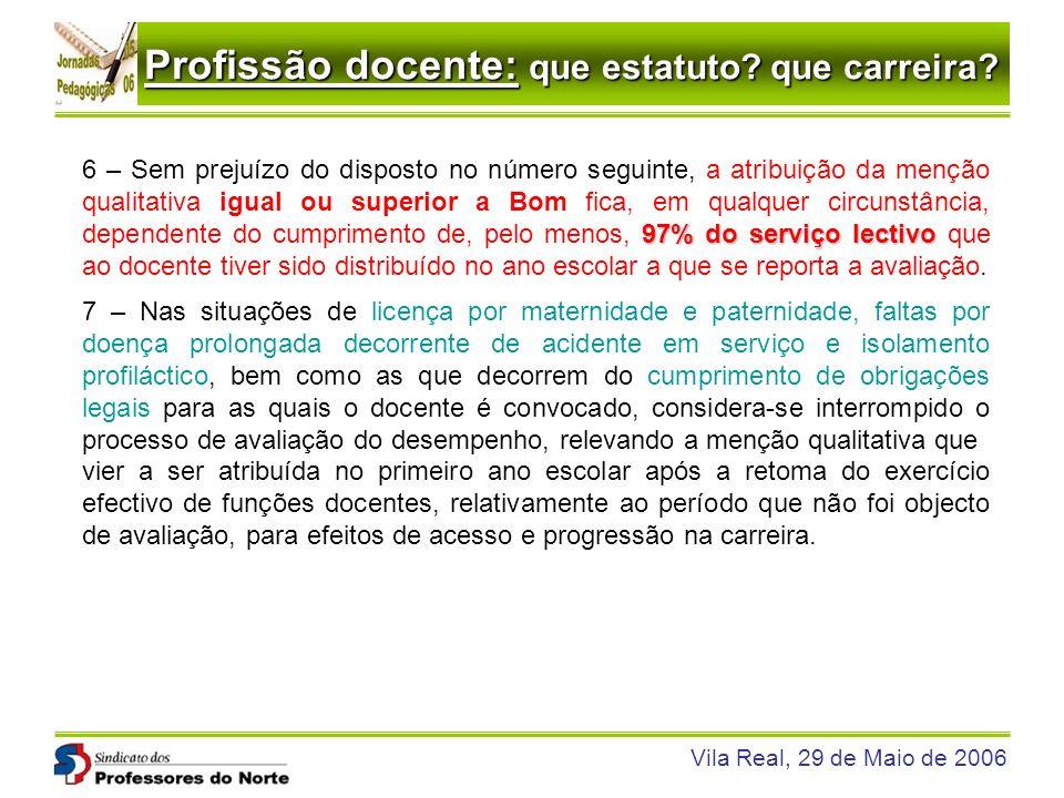 Profissão docente: que estatuto? que carreira? Vila Real, 29 de Maio de 2006 97% do serviço lectivo 6 – Sem prejuízo do disposto no número seguinte, a