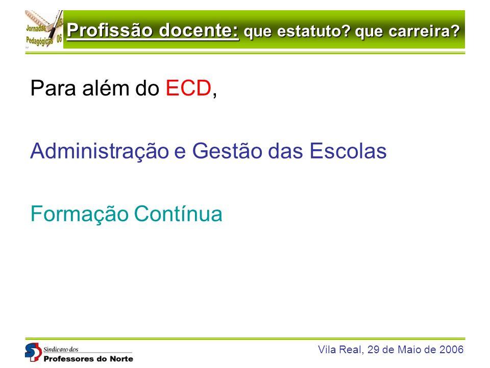 Profissão docente: que estatuto? que carreira? Vila Real, 29 de Maio de 2006 Para além do ECD, Administração e Gestão das Escolas Formação Contínua