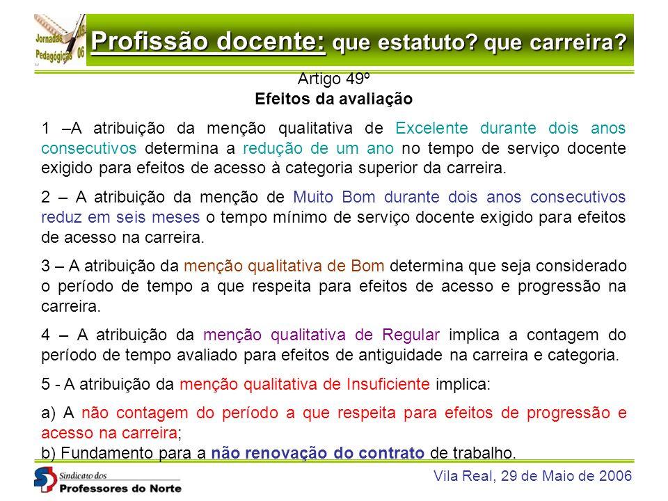Profissão docente: que estatuto? que carreira? Vila Real, 29 de Maio de 2006 Artigo 49º Efeitos da avaliação 1 –A atribuição da menção qualitativa de