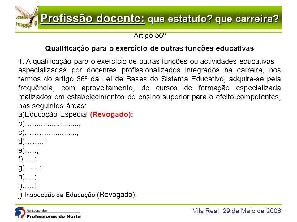 Profissão docente: que estatuto? que carreira? Vila Real, 29 de Maio de 2006 Artigo 56º Qualificação para o exercício de outras funções educativas 1.