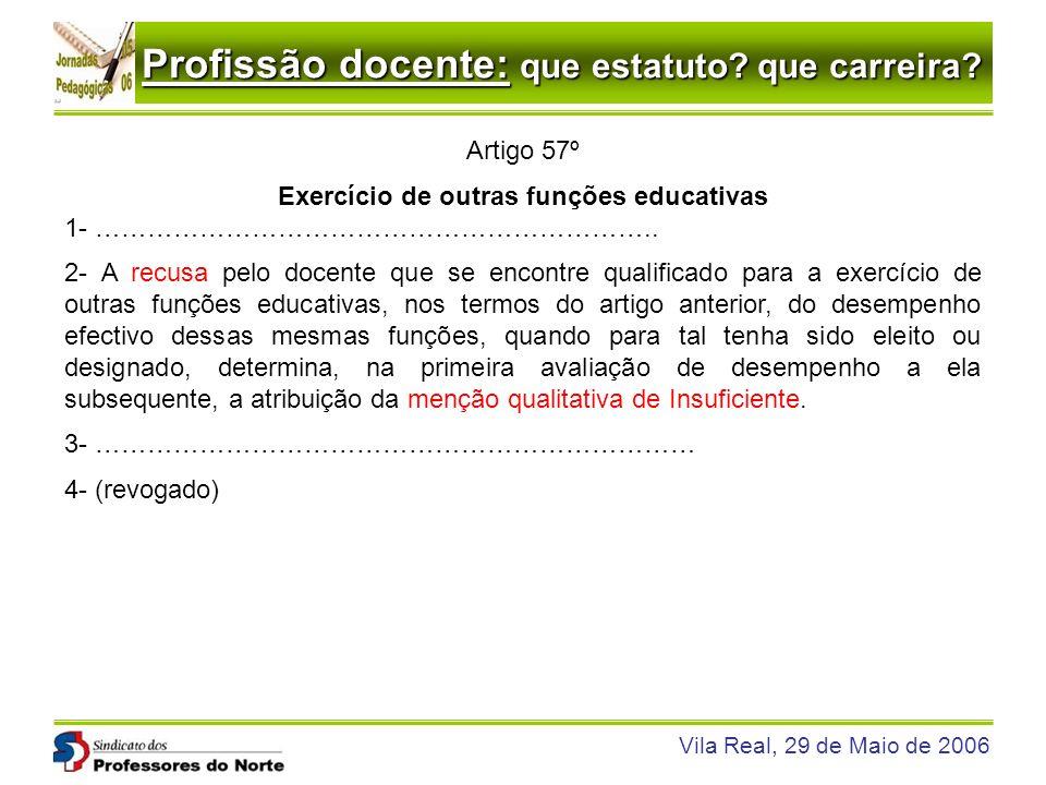 Profissão docente: que estatuto? que carreira? Vila Real, 29 de Maio de 2006 Artigo 57º Exercício de outras funções educativas 1- ……………………………………………………
