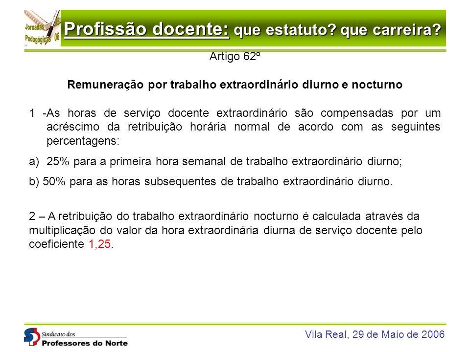 Profissão docente: que estatuto? que carreira? Vila Real, 29 de Maio de 2006 Artigo 62º Remuneração por trabalho extraordinário diurno e nocturno 1 -A