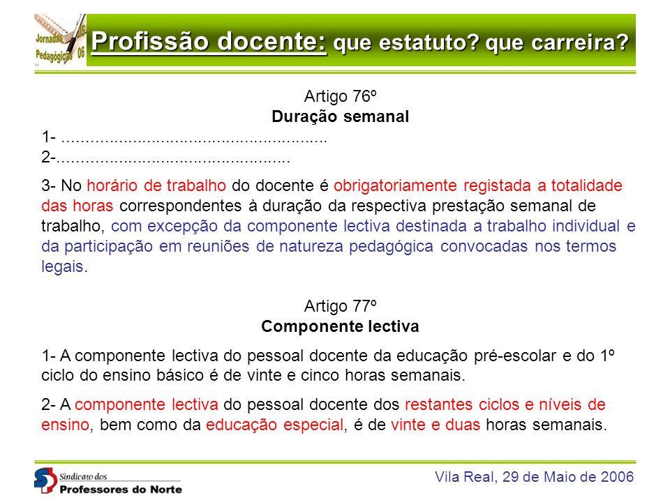 Profissão docente: que estatuto? que carreira? Vila Real, 29 de Maio de 2006 Artigo 76º Duração semanal 1-............................................