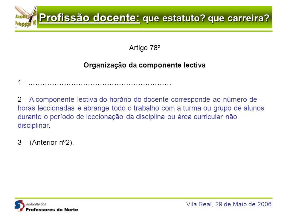 Profissão docente: que estatuto? que carreira? Vila Real, 29 de Maio de 2006 Artigo 78º Organização da componente lectiva 1 - …………………………………………………… 2 –