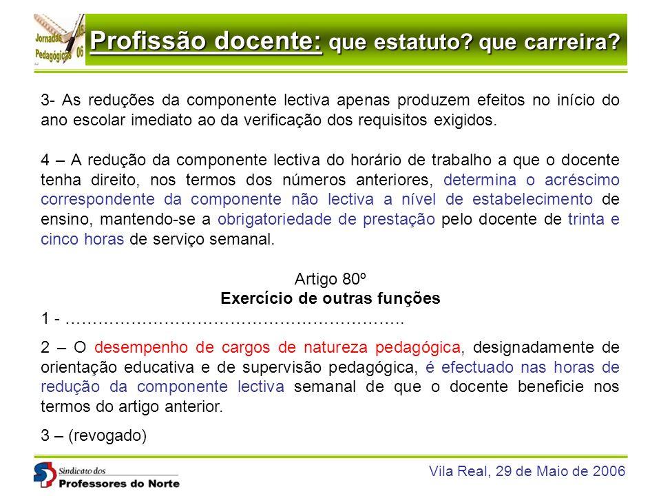 Profissão docente: que estatuto? que carreira? Vila Real, 29 de Maio de 2006 3- As reduções da componente lectiva apenas produzem efeitos no início do