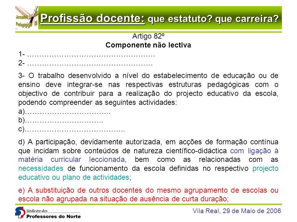 Profissão docente: que estatuto? que carreira? Vila Real, 29 de Maio de 2006 Artigo 82º Componente não lectiva 1- ……………………………………………. 2- ……………………………………