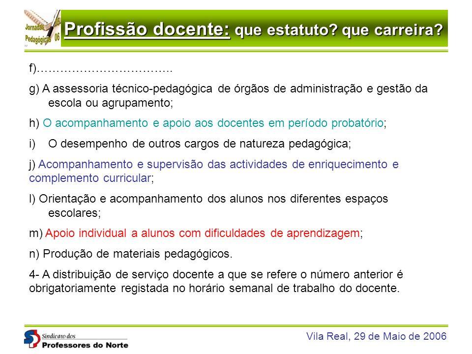 Profissão docente: que estatuto? que carreira? Vila Real, 29 de Maio de 2006 f)…………………………….. g) A assessoria técnico-pedagógica de órgãos de administr