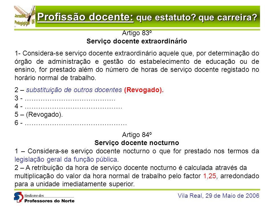 Profissão docente: que estatuto? que carreira? Vila Real, 29 de Maio de 2006 Artigo 83º Serviço docente extraordinário 1- Considera-se serviço docente