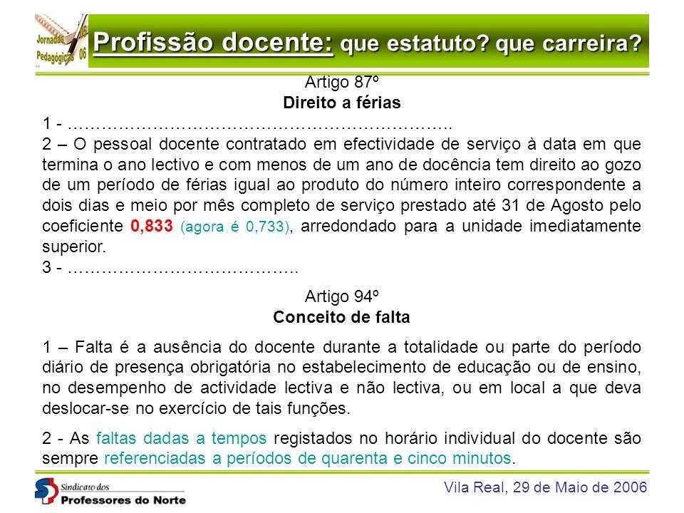 Profissão docente: que estatuto? que carreira? Vila Real, 29 de Maio de 2006 Artigo 87º Direito a férias 1 - ………………………………………………………….. 2 – O pessoal do