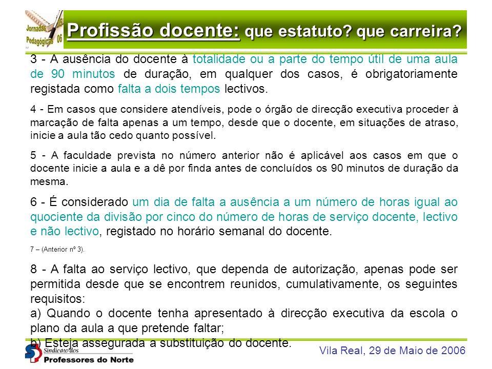 Profissão docente: que estatuto? que carreira? Vila Real, 29 de Maio de 2006 3 - A ausência do docente à totalidade ou a parte do tempo útil de uma au