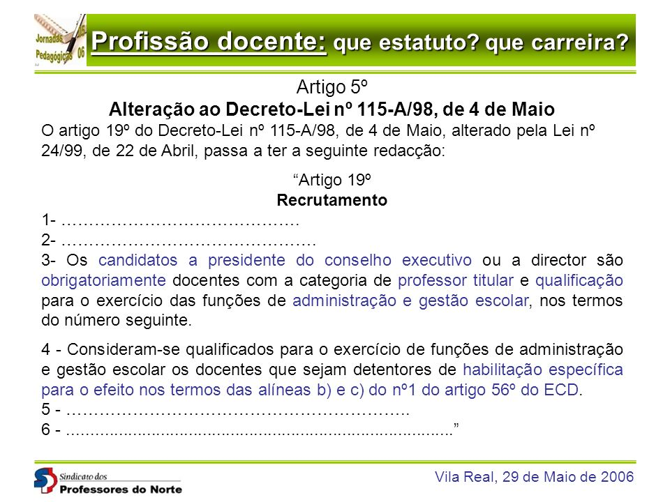 Profissão docente: que estatuto? que carreira? Vila Real, 29 de Maio de 2006 Artigo 5º Alteração ao Decreto-Lei nº 115-A/98, de 4 de Maio O artigo 19º