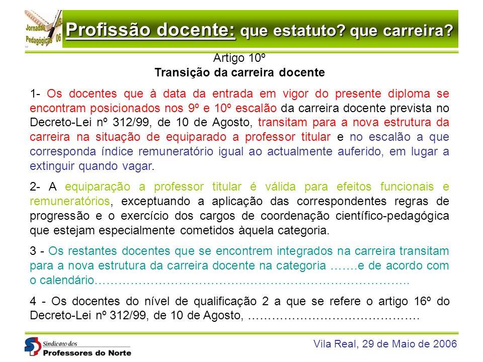 Profissão docente: que estatuto? que carreira? Vila Real, 29 de Maio de 2006 Artigo 10º Transição da carreira docente 1- Os docentes que à data da ent