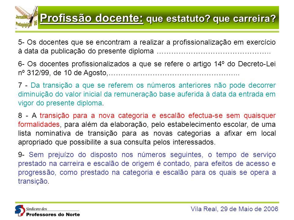 Profissão docente: que estatuto? que carreira? Vila Real, 29 de Maio de 2006 5- Os docentes que se encontram a realizar a profissionalização em exercí