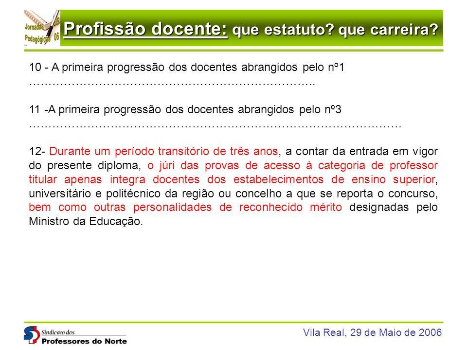 Profissão docente: que estatuto? que carreira? Vila Real, 29 de Maio de 2006 10 - A primeira progressão dos docentes abrangidos pelo nº1 …………………………………