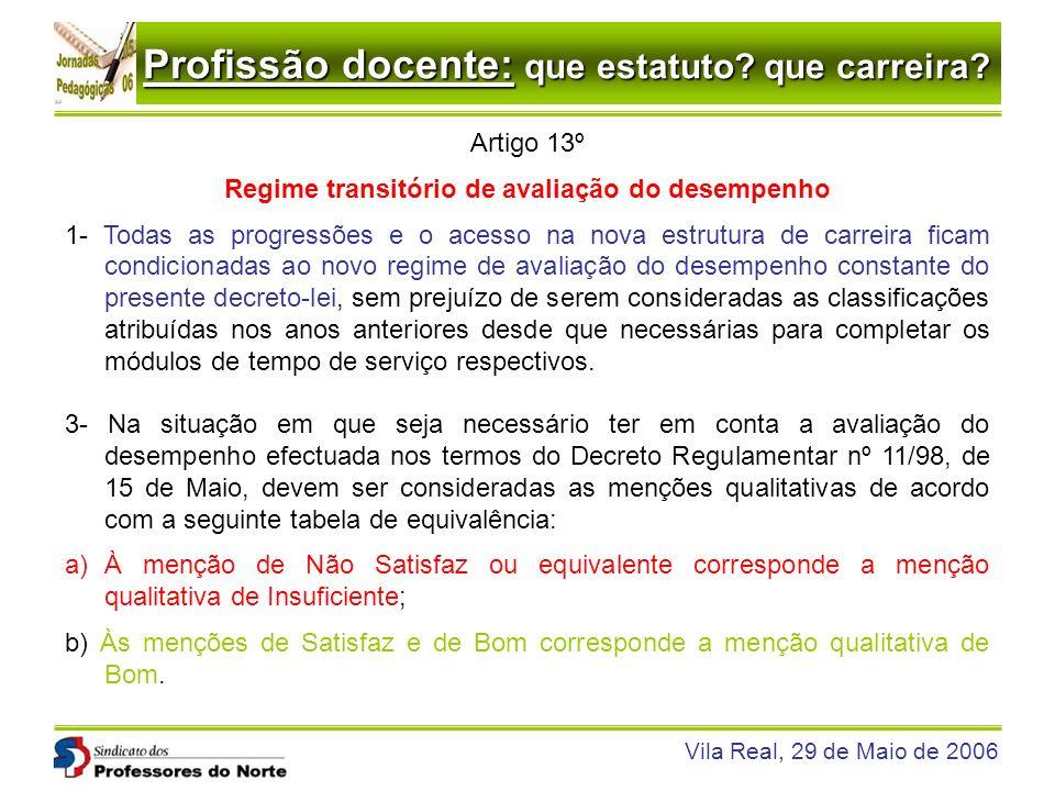 Profissão docente: que estatuto? que carreira? Vila Real, 29 de Maio de 2006 Artigo 13º Regime transitório de avaliação do desempenho 1- Todas as prog