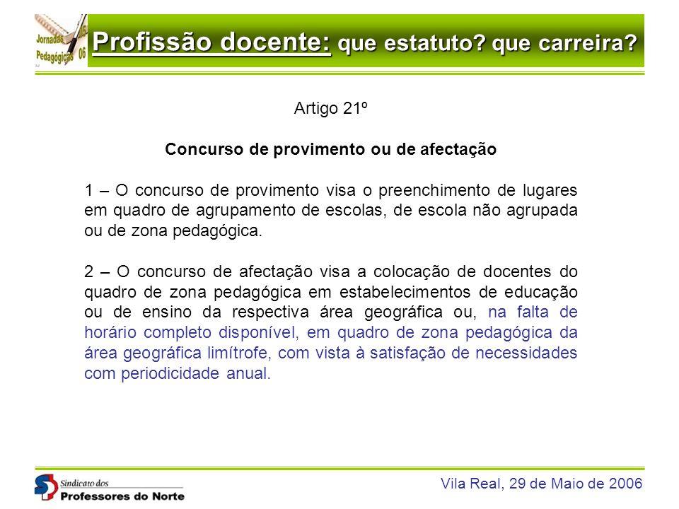 Profissão docente: que estatuto? que carreira? Vila Real, 29 de Maio de 2006 Artigo 21º Concurso de provimento ou de afectação 1 – O concurso de provi