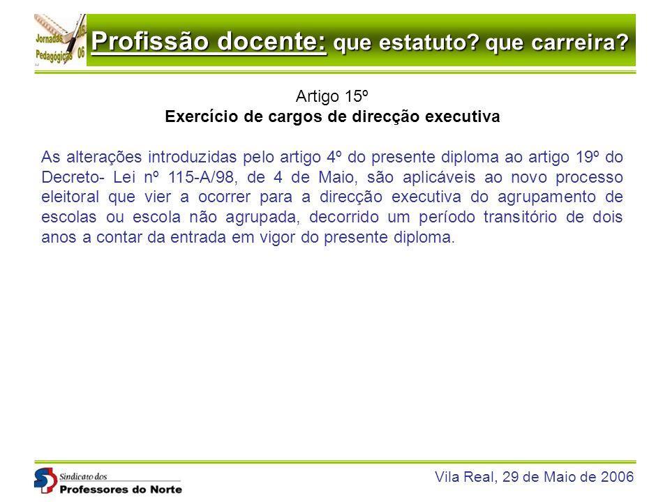 Profissão docente: que estatuto? que carreira? Vila Real, 29 de Maio de 2006 Artigo 15º Exercício de cargos de direcção executiva As alterações introd