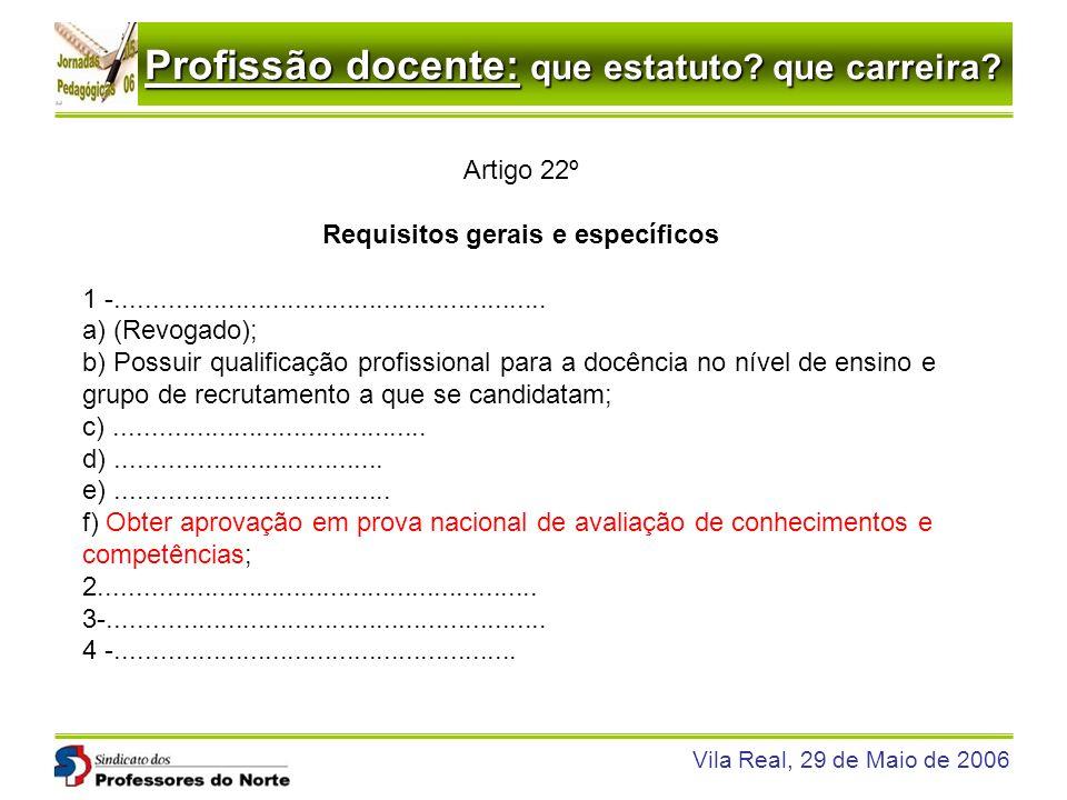 Profissão docente: que estatuto? que carreira? Vila Real, 29 de Maio de 2006 Artigo 22º Requisitos gerais e específicos 1 -...........................
