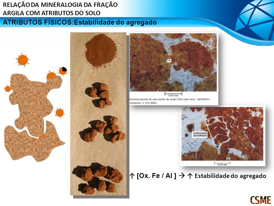 ATRIBUTOS FÍSICOS:Estabilidade do agregado [Ox. Fe / Al ] Estabilidade do agregado RELAÇÃO DA MINERALOGIA DA FRAÇÃO ARGILA COM ATRIBUTOS DO SOLO