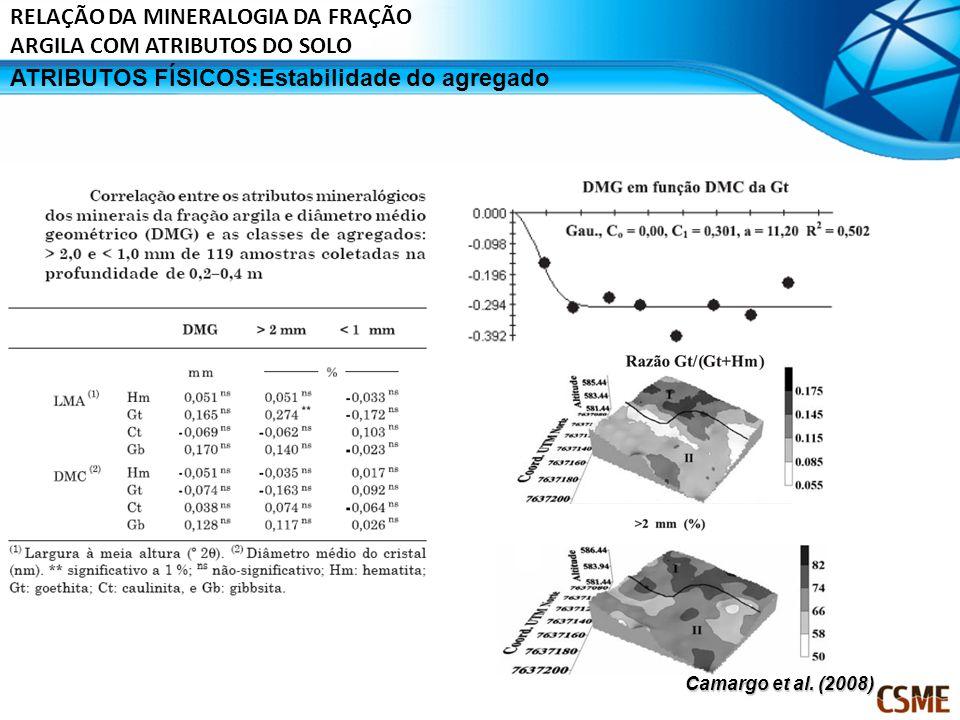 RELAÇÃO DA MINERALOGIA DA FRAÇÃO ARGILA COM ATRIBUTOS DO SOLO ATRIBUTOS FÍSICOS:Estabilidade do agregado Camargo et al. (2008)