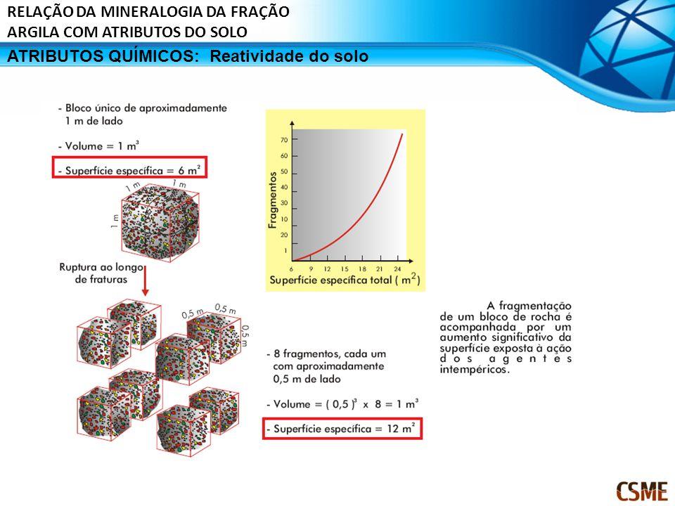 ATRIBUTOS QUÍMICOS:Reatividade do solo RELAÇÃO DA MINERALOGIA DA FRAÇÃO ARGILA COM ATRIBUTOS DO SOLO