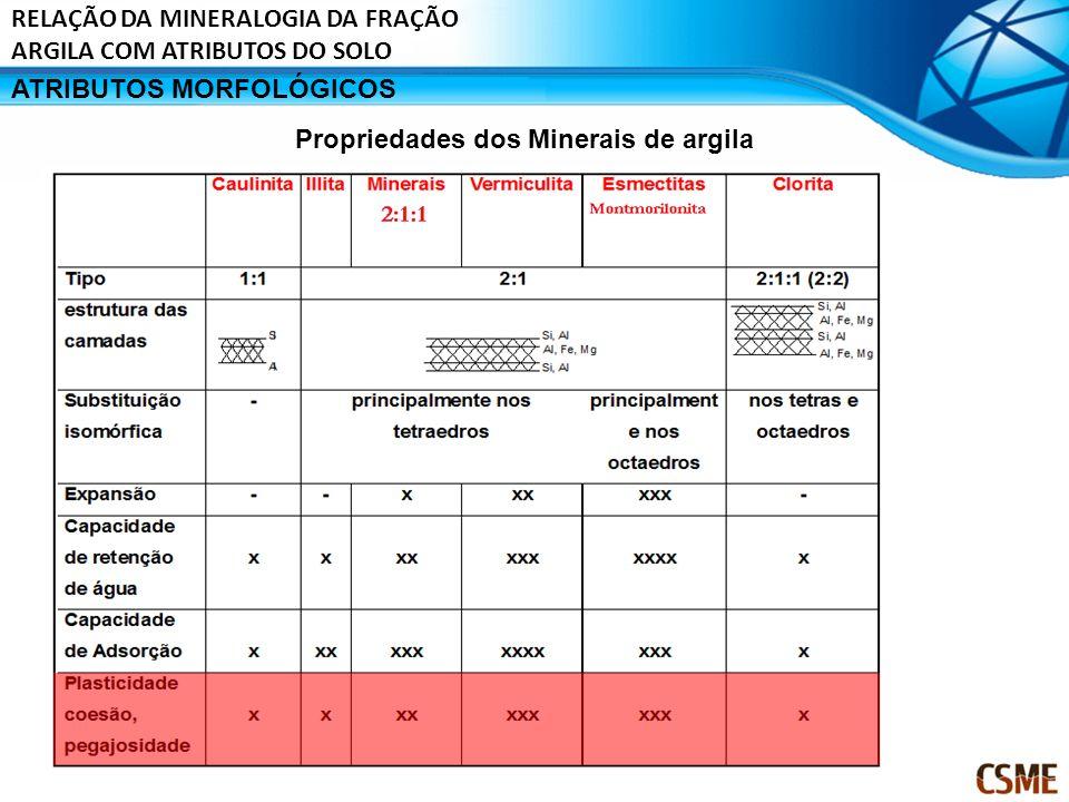 ATRIBUTOS MORFOLÓGICOS Propriedades dos Minerais de argila RELAÇÃO DA MINERALOGIA DA FRAÇÃO ARGILA COM ATRIBUTOS DO SOLO