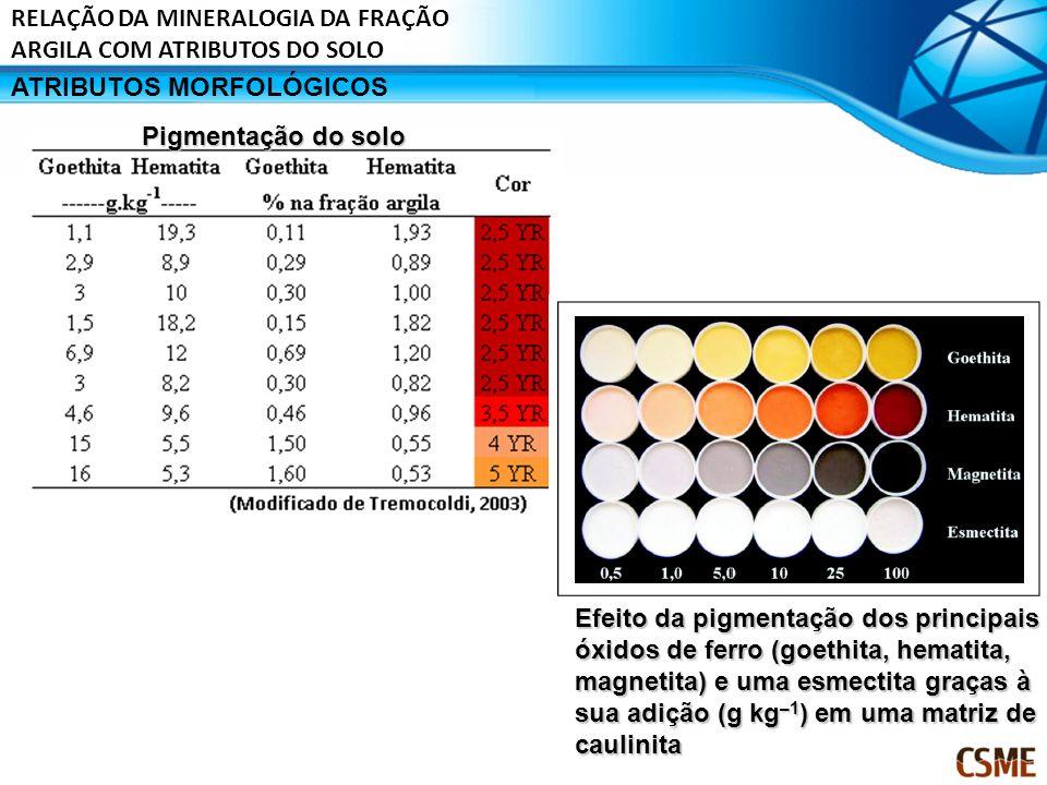 ATRIBUTOS MORFOLÓGICOS Pigmentação do solo Efeito da pigmentação dos principais óxidos de ferro (goethita, hematita, magnetita) e uma esmectita graças