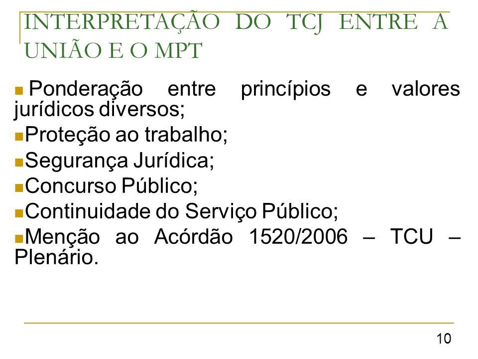 INTERPRETAÇÃO DO TCJ ENTRE A UNIÃO E O MPT Ponderação entre princípios e valores jurídicos diversos; Proteção ao trabalho; Segurança Jurídica; Concurso Público; Continuidade do Serviço Público; Menção ao Acórdão 1520/2006 – TCU – Plenário.