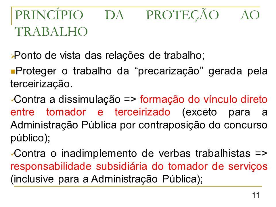PRINCÍPIO DA PROTEÇÃO AO TRABALHO Ponto de vista das relações de trabalho; Proteger o trabalho da precarização gerada pela terceirização.