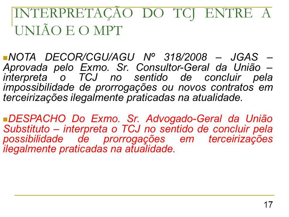 INTERPRETAÇÃO DO TCJ ENTRE A UNIÃO E O MPT NOTA DECOR/CGU/AGU Nº 318/2008 – JGAS – Aprovada pelo Exmo.