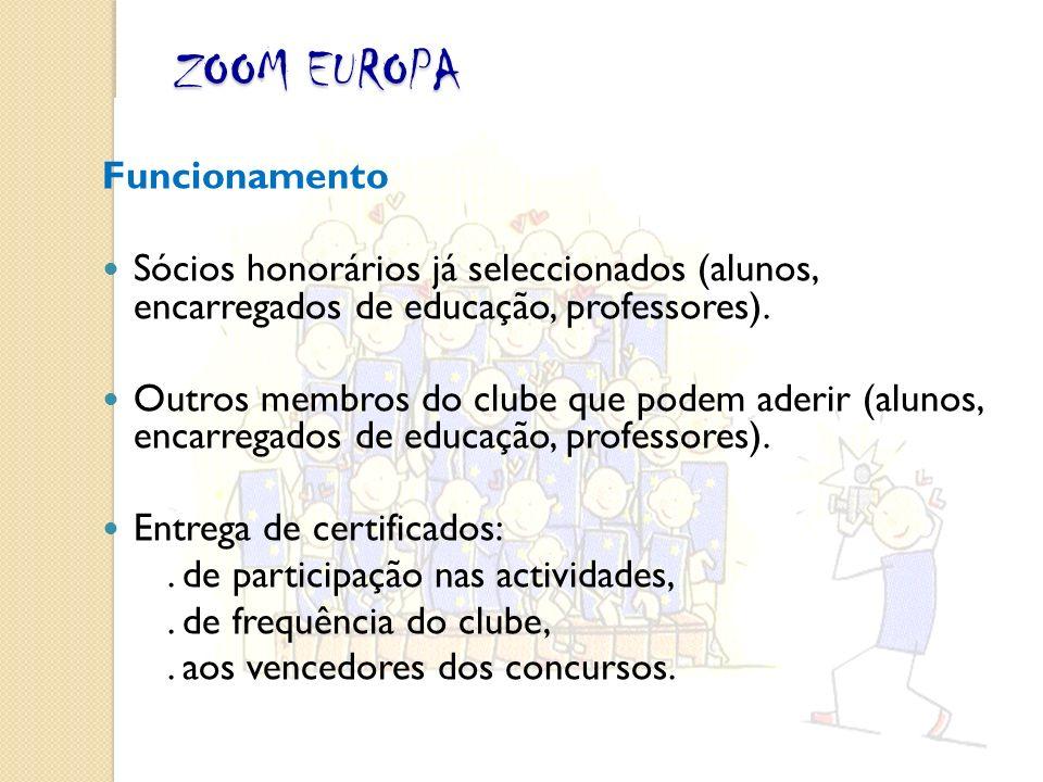 Funcionamento Sócios honorários já seleccionados (alunos, encarregados de educação, professores).