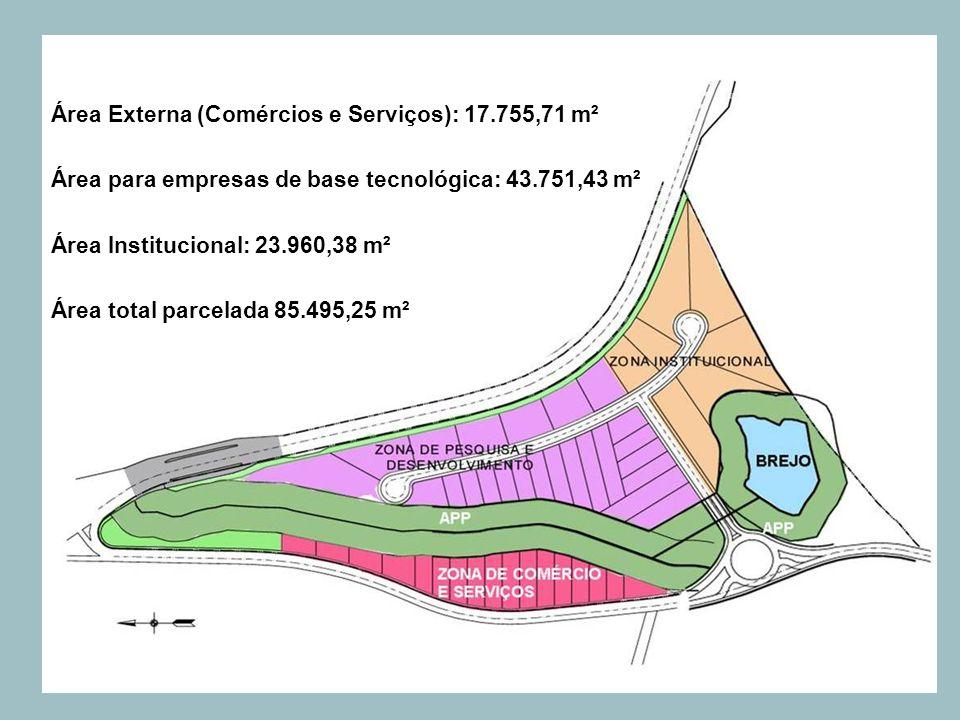 Área Externa (Comércios e Serviços): 17.755,71 m² Área para empresas de base tecnológica: 43.751,43 m² Área Institucional: 23.960,38 m² Área total par