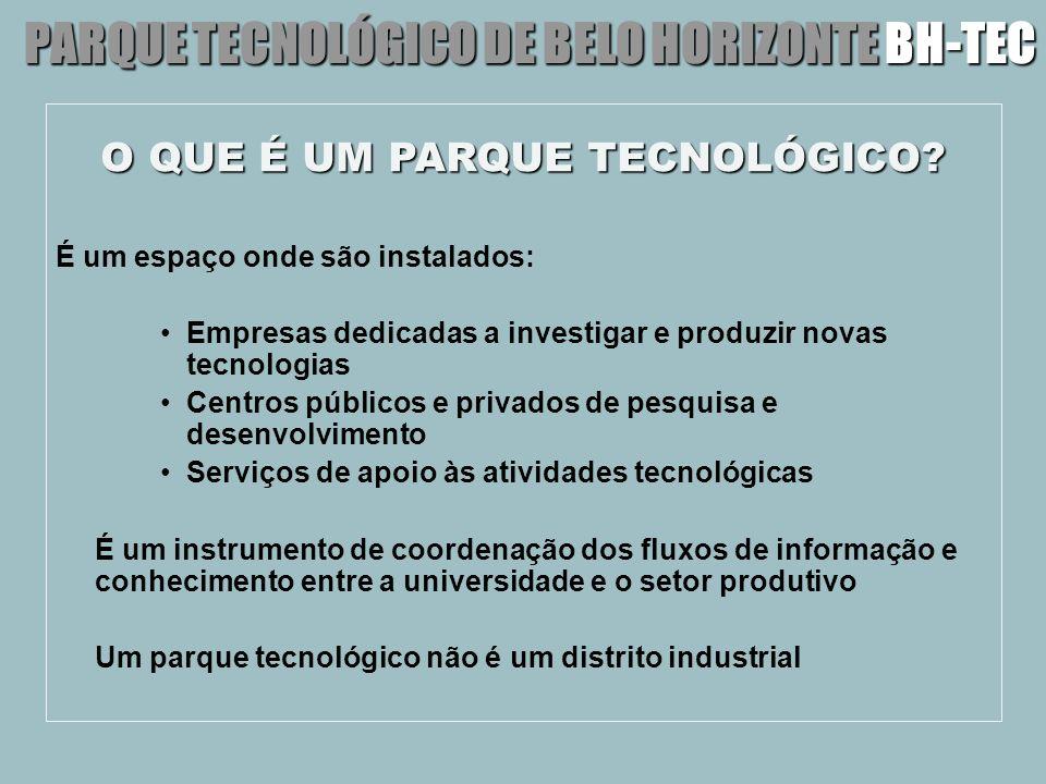 O QUE É UM PARQUE TECNOLÓGICO? É um espaço onde são instalados: Empresas dedicadas a investigar e produzir novas tecnologias Centros públicos e privad