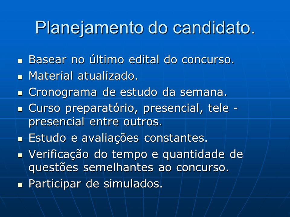 Planejamento do candidato.Basear no último edital do concurso.